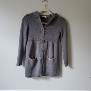 HANNA ANDERSSON | Gray Hooded Cardigan Sweater 130